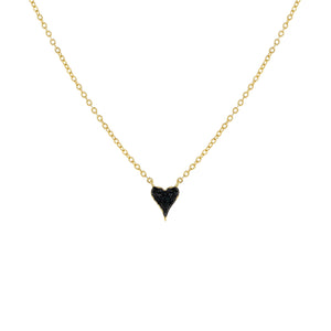 Mini Pavé Onyx Heart Necklace Onyx - Adina's Jewels