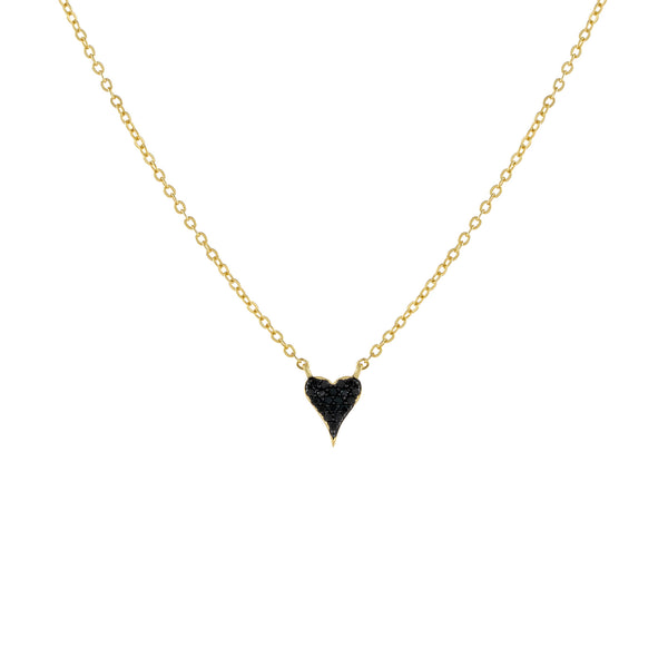 Onyx Mini Pavé Onyx Heart Necklace - Adina's Jewels