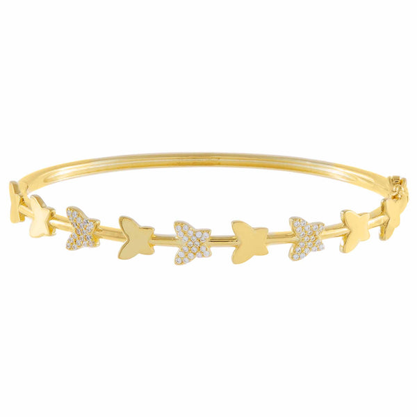 Gold Pavé X Solid Butterfly Bangle - Adina's Jewels
