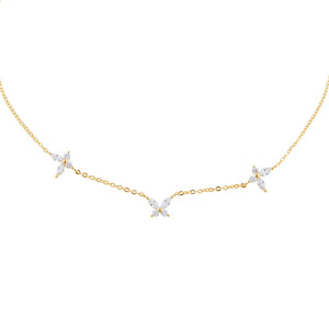 Crystal Triple Butterfly Choker Gold - Adina's Jewels
