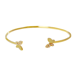 Mini Pavé X Solid Butterfly Bangle Gold - Adina's Jewels