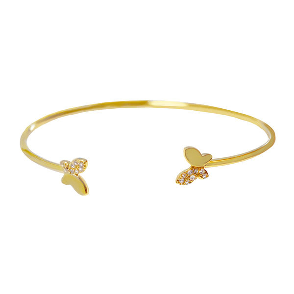 Gold Mini Pavé X Solid Butterfly Bangle - Adina's Jewels