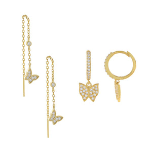 Gold The Butterfly Lover Earring Combo Set - Adina's Jewels