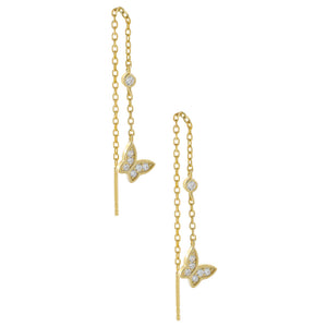 Gold CZ Butterfly Threader Drop Earring - Adina's Jewels