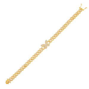 Pavé Butterfly Chain Link Bracelet Gold - Adina's Jewels