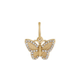 14K Gold Diamond Butterfly Charm 14K - Adina's Jewels