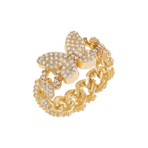 Gold / 6 Pavé Butterfly Chain Link Ring - Adina's Jewels