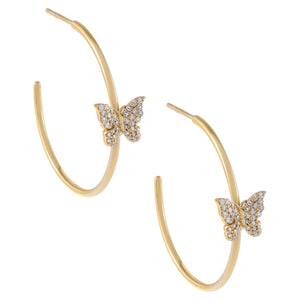 14K Gold Diamond Butterfly Hoop Earring 14K - Adina's Jewels