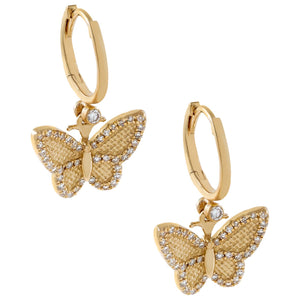 14K Gold Diamond Dainty Butterfly Huggie Earring 14K - Adina's Jewels