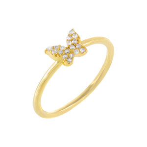 Pavé Mini Butterfly Ring Gold / 6 - Adina's Jewels