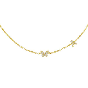 Gold / A Pavé Butterfly Initial Choker - Adina's Jewels