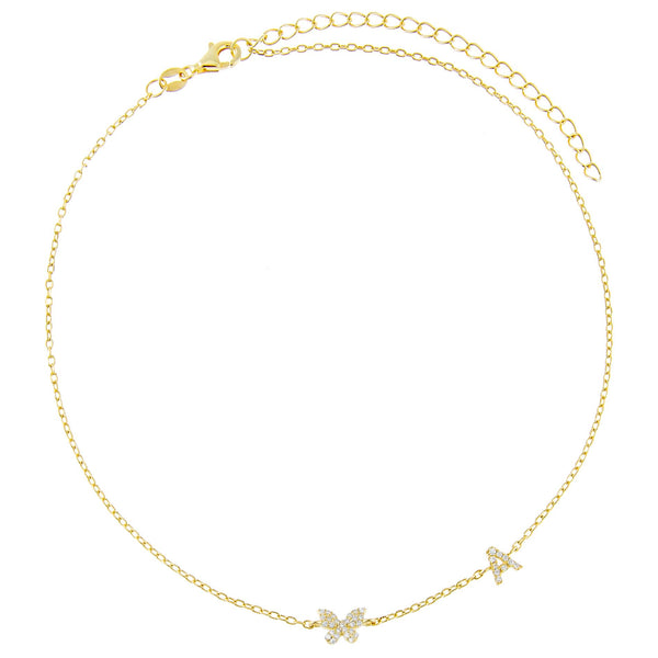 Pavé Butterfly Initial Choker - Adina's Jewels