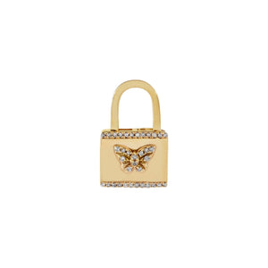 Diamond Butterfly Lock Huggie Earring 14K 14K Gold / Single - Adina's Jewels