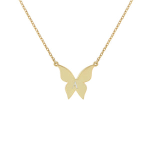 Gold / Engraved Engraved Butterfly Necklace - Adina's Jewels