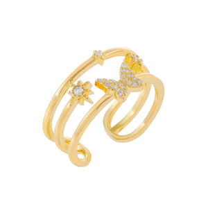 Gold CZ Butterfly Adjustable Ring - Adina's Jewels