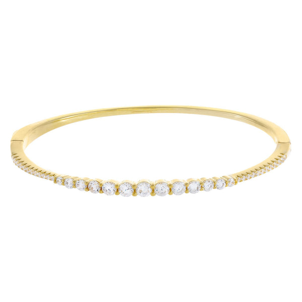 CZ Graduated Round Bangle Gold - Adina's Jewels