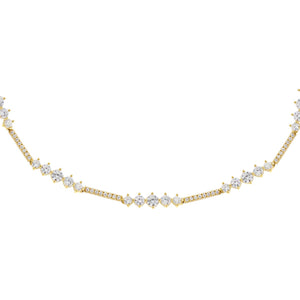 Gold CZ Round X Bar Choker - Adina's Jewels