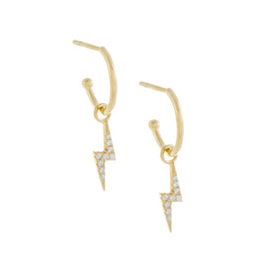 Pavé Lightning Bolt Hoop Earring Gold - Adina's Jewels
