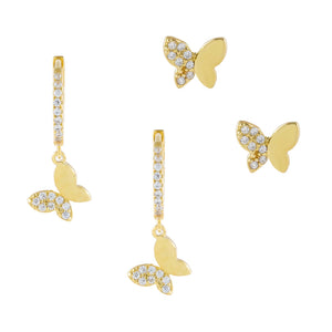 Gold Pavé Butterfly Earring Combo Set - Adina's Jewels