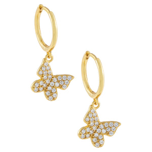 Gold Pavé Butterfly Huggie Earring - Adina's Jewels