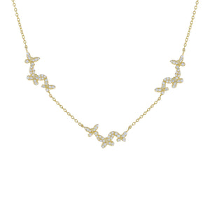 Pavé Butterflies Necklace Gold - Adina's Jewels