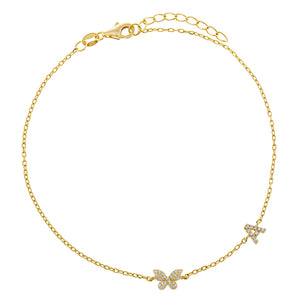 Gold / A Pavé Butterfly Initial Anklet - Adina's Jewels