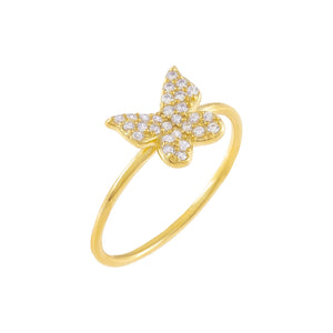 Gold / 5 Pavé Dainty Butterfly Ring - Adina's Jewels