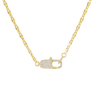 Gold Pavé Clasp Gucci Link Necklace - Adina's Jewels