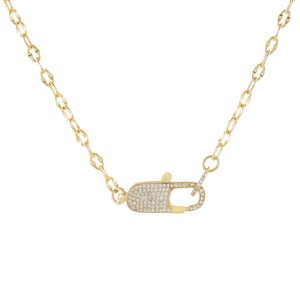 Gold Pavé Clasp Chain Link Necklace - Adina's Jewels