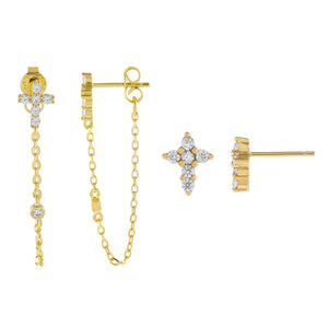 Gold CZ Cross Earring Combo Set - Adina's Jewels