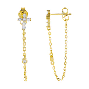 Gold CZ Cross Chain Drop Earring - Adina's Jewels