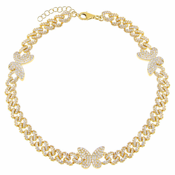 Gold Pavé Butterfly Chain Link Anklet - Adina's Jewels