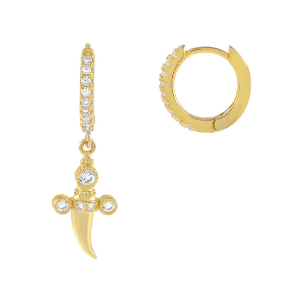 Gold CZ Dagger Huggie Earring - Adina's Jewels