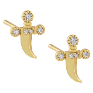 Gold CZ Dagger Stud Earring - Adina's Jewels