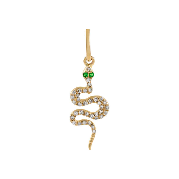 14K Gold Diamond Serpent Charm 14K - Adina's Jewels