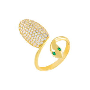 Emerald Green Pavé Snake Ring - Adina's Jewels