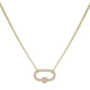 Pavé Omega Toggle Necklace Gold - Adina's Jewels