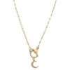 Gold CZ Crescent X Handcuff Necklace - Adina's Jewels