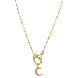CZ Crescent X Handcuff Necklace Gold - Adina's Jewels