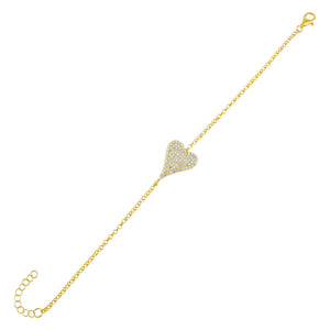 Gold Pavé Heart Bracelet - Adina's Jewels