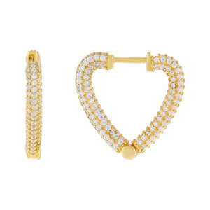 Gold / 20 MM Pavé Open Heart Hoop Earring - Adina's Jewels