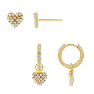 Pearl White Pearl X Heart Earring Combo Set - Adina's Jewels