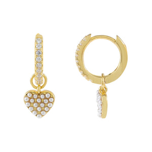 Gold CZ X Pearl Heart Huggie Earring - Adina's Jewels