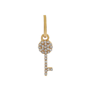 14K Gold Diamond Key Charm 14K - Adina's Jewels
