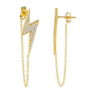 Gold Pavé Large Lightning Bolt Chain Drop Earring - Adina's Jewels