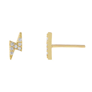 Gold CZ Mini Lightning Bolt Stud Earring - Adina's Jewels