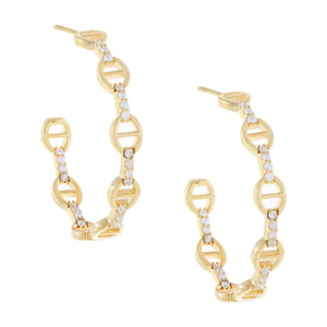 CZ Links Hoop Earring Gold - Adina's Jewels