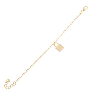 CZ Lock Link Bracelet Gold - Adina's Jewels