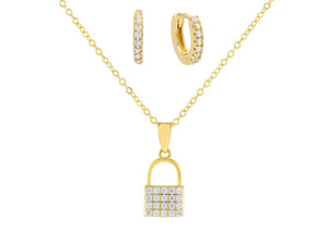 Gold Pavé Lock Necklace X Huggie Earring Combo Set - Adina's Jewels