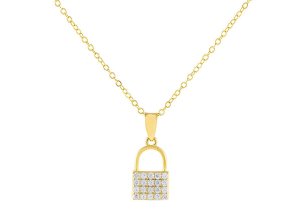 Gold Pavé Tiny Lock Necklace - Adina's Jewels